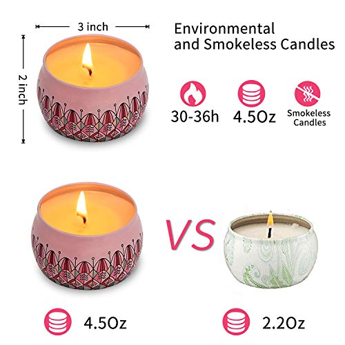 Eyansda Scented Candles Set of Rose, Eco-Friendly Pure Soy Wax for Stress Relief and Aromatherapy, Protable Travel Candle-2 Pack by Eyansda (Image #3)