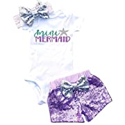 TTYAOVO Girl Toddler Girls Romper+ Headband+ Shorts 3pcs Set Baby Summer Clothing Size 0-6 Months Purple&White