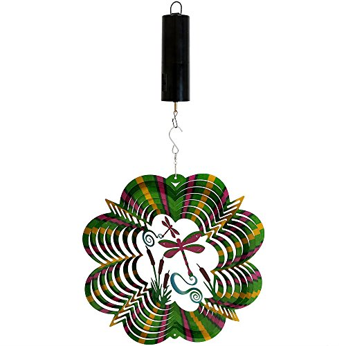 Sunnydaze Reflective 3D Whirligig Dragonfly Wind Spinner with Hook, 12-Inch, Battery Operated Motor (Dragonfly Whirligig)