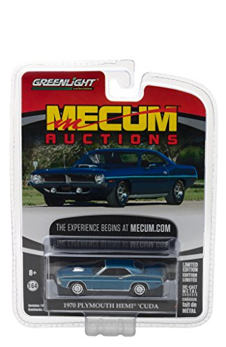 - 1970 Plymouth HEMI Cuda Jamaica Blue Mecum Auctions Collector Series 1 1/64 by Greenlight 37110 D