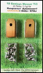 Titan! Genisys Cuchilla (Ti3=0,75mm) y Tornillos para Husqvarna Automower , Gardena Lawn mower