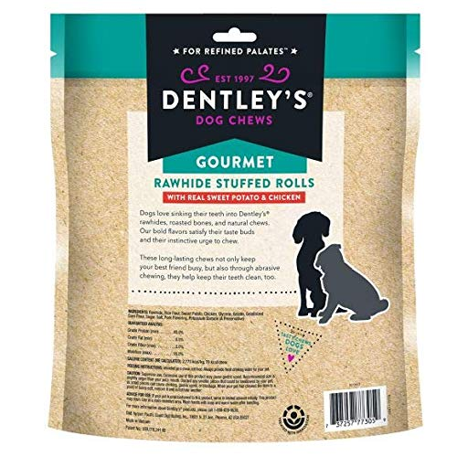 Dentley's Gourmet Rawhide Stuffed Rolls Dog Treats - Sweet Potato & Chicken 25 Rolls Per Pack
