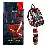Star Wars The Force Awakens Sleeping Bag, Backpack & Kylo Ren Water Bottle (3 Piece Kylo)