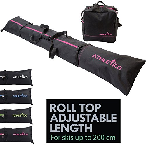 Athletico Two-Piece Ski and Boot Bag Combo   Store & Transport Skis Up to 200 cm and Boots Up to Size 13   Includes 1 Ski Bag & 1 Ski Boot Bag (Black with Pink Trim)