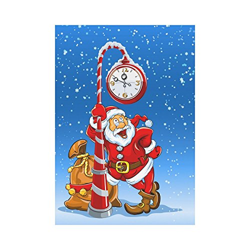 InterestPrint Santa Claus with Gifts Stands under the Clock
