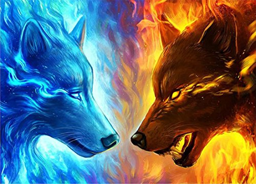 21secret 5D Diamond Diy Painting Full Drill Handmade Justice and Evil Wolf Cross Stitch Home Decor Embroidery Kit by 21secret