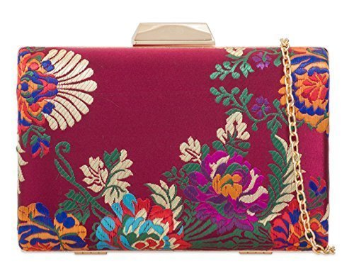Prom Evening Clutch Bags Burgundy Print Dressy I95 Ladies Womens Hand Occasion Satin Party Case Hard Floral fwYA1Sqg