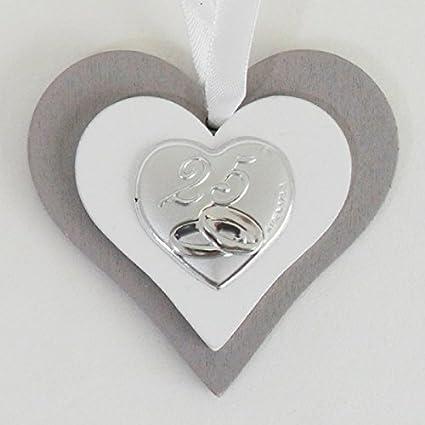 Xxv Anniversario Di Matrimonio.Bomboniere 2 Bomboniere Icona Cuore In Legno Per 25 Anniversario Di Matrimonio