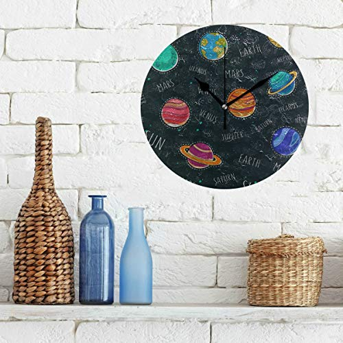 Limiejo Home Office Clock Amazing Solar System Space Non-Ticking Round Silent Diamond Display Wall Clocks Painting Dial Kitchen Bedroom Decor Office Clock Small (Old Solar School System)