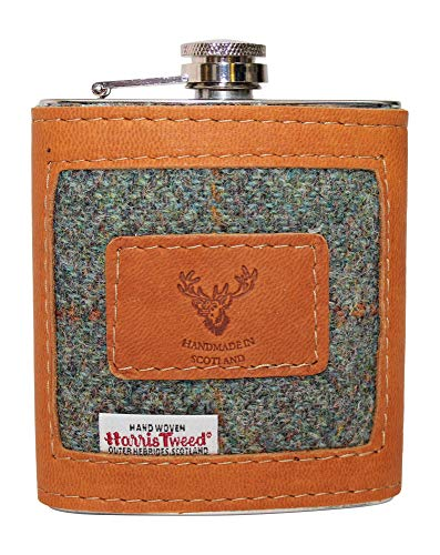 Stylish 100% Tan Camel Brown Authentic Leather & Green Harris Tweed Ladies Gents 6oz Hipflask