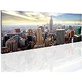 Bilder 110 x 40 cm - New York Bild - Vlies Leinwand - Kunstdrucke -Wandbild - XXL Format – mehrere Farben und Größen im Shop - Fertig Aufgespannt !!! 100% MADE IN GERMANY !!! - NY – Skyline 603411a