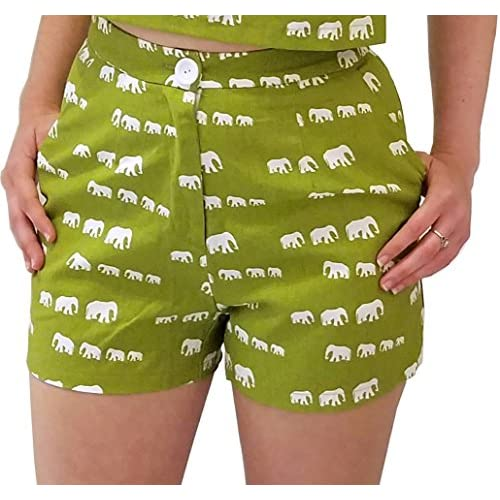 Wholesale Ducks in a Row Women\'s High Waisted Shorts in Green Elephant Print for sale dSD8Wzae