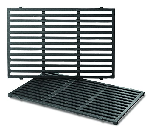 Grill Weber Silver Parts - Weber Series Gas Grills (17.5 x 11.9 x 0.5 Each) 7638 Porcelain-Enameled Cast Iron Cooking Grates for Spirit 300, Pack of 2