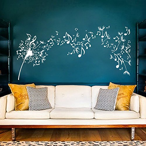 Dandelion Wall Decal Vinyl Sticker Decals Nature Flower Music Musical Notes Boho Bedding Decor Decal Stickers Bedroom Living Room Art (XLarge,White)