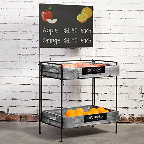 MyGift Country Rustic Metal Produce Rack with Chalkboard Sign & Removable Torched Wood Trays ()