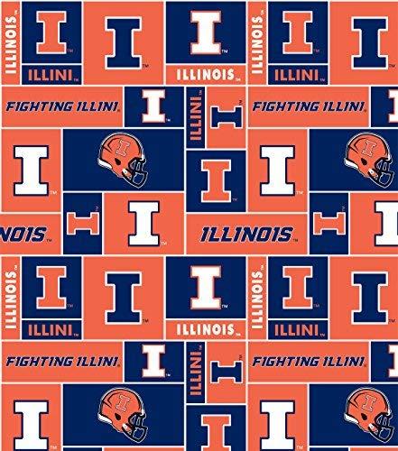 College University of Illinois Fighting Illini Print Fleece Fabric By the Yard ()