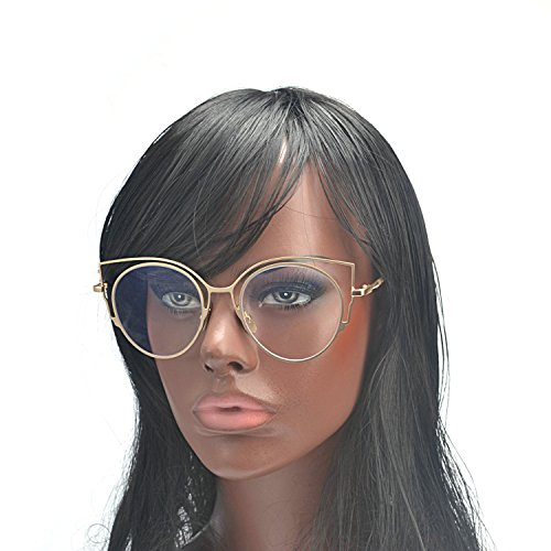 [MINCL/Womens Fashion Round Metal Cut-Out Clear Lens Cat Eye Sunglasses (gold-clear, gold-clear)] (Clear Cat Eye Glasses)