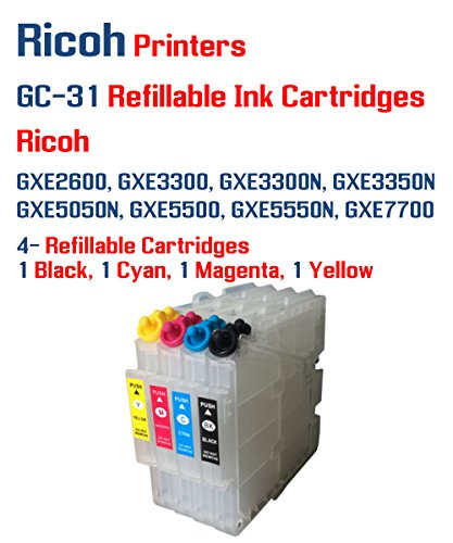 4 multi-color GC-31 Compatible Refillable Ink Cartridges with Auto Reset Chips - GXE2600,GXE3300,GXE3300N,GXE3350N,GXE5050N,GXE5500,GXE5550N,GXE7700 (Pack Multi Compatible Color)