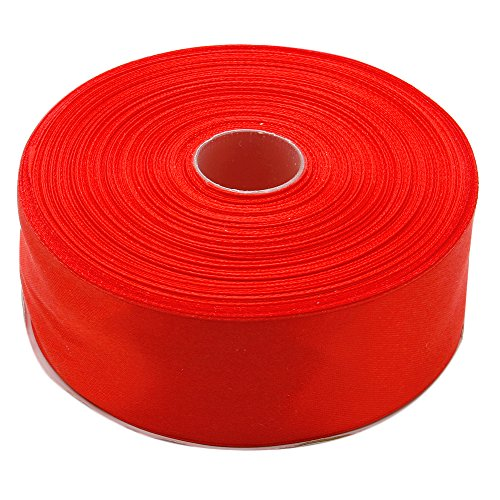 (Topenca Supplies 1-1/2 Inches x 50 Yards Double Face Solid Satin Ribbon Roll, Red)