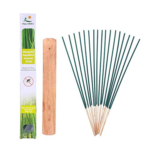 NatureMax Mosquito Sticks, Insect Repellent Incense Stick, 100% Natural and DEET Free, Bamboo Infused with Citronella, Lemongrass (40 Sticks with Incense Holder)