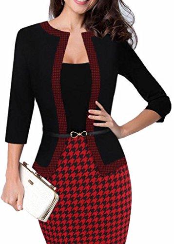 Jaycargogo Mode Des Femmes Porter Au Travail Parti D'affaires Bodycon Une Seule Pièce Robe 4