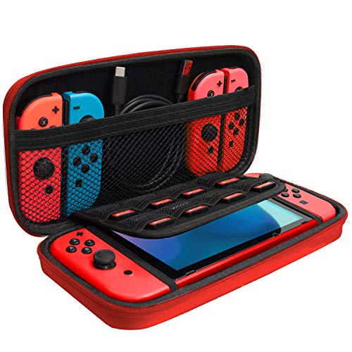 Orzly Carry Case Compatible with Nintendo Switch - RED Protective Hard Portable Travel Carry Case Shell Pouch for Nintendo Switch Console & Accessories