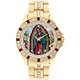 Elgin Men's Lady of Guadalupe Graphic Dial Crystal Accented Gold-Tone Watch FG9115