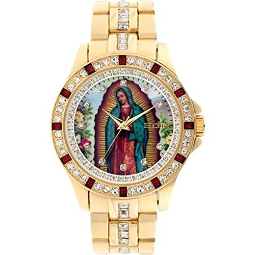 ELGIN Men's Lady of Guadalupe Graphic Dial Crystal Accent...