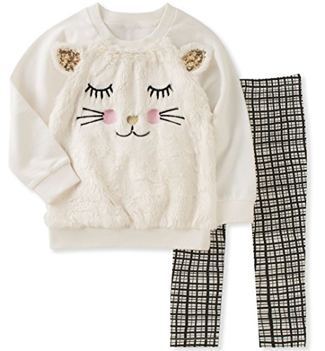 Kids Headquarters Little Girls' Tunic Legging Set, Vanilla/Gold/Multi, 5 by Kids Headquarters