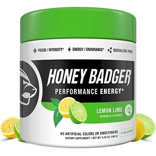 Honey Badger Vegan Keto Pre Workout | Lemon Lime | Natural Paleo Sugar Free Plant-Based Energy Supplement Nootropics Amino Acids Nitric Oxide Sucralose Free + Non-Habit Forming | 30 Servings