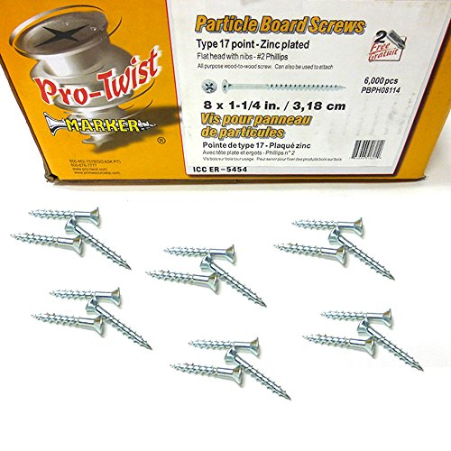 Pro-Twist 8X1.25 Particle Board Screws with Nibs - Type 17 Point - Zinc Plated
