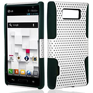 LG Splendor US730 Venice Showtime L86C Mesh Hybrid Hard Case Gel Cover - White Black