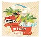 Lunarable Havana Tapestry Queen Size, Cuban Culture Attractions Concept Smiling Local Lady on Classic Car Among Palms, Wall Hanging Bedspread Bed Cover Wall Decor, 88 W X 88 L Inches, Multicolor