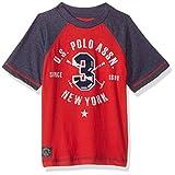 U.S. Polo Assn. Big Boys' Short Sleeve Embellished Crew Neck T-Shirt, Engine Red s Black, 14/16
