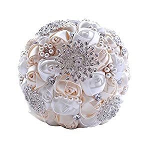 Wedding Bouquets for Bride, Amoleya 7.8 Inch Handmade Bridal Bouquet Bridesmaid Bouquet of Satin Flower Roses with Bling Rhinestones(Ivory+White) 73