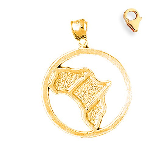 14K Yellow Gold 31mm Africa Charm w/ Lobster Clasp by JewelsObsession