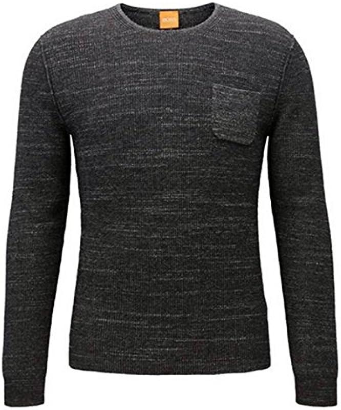 Boss Orange Regular Fit na sweter kutask ze wkładce z bawełny-Mix z alpaki i żywa wełna kolor czarny 001 - s czarny: Odzież