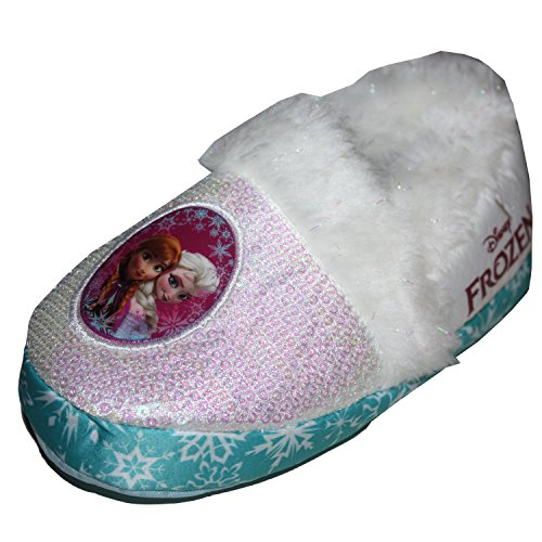 Disney Frozen Slippers (Disney Frozen Anna & Elsa Slippers Toddler Girl Small 5/6 White)
