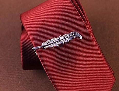 Huasen - 1 Clip para Corbata con diseño de Hojas de Plata para ...