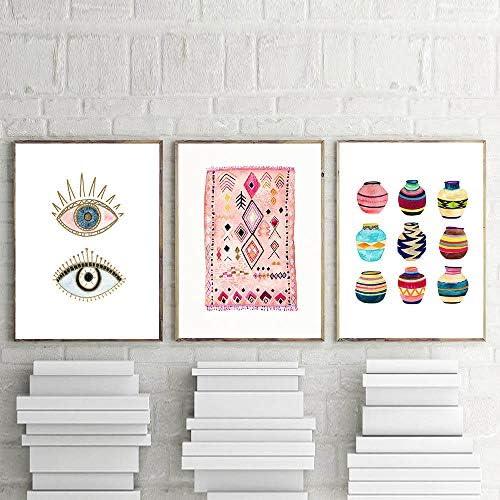 Llxhgラグアート絵画自由Ho放に生きる壁写真目部族織バスケット水彩キャンバスアートプリントホームボヘミアポスター壁の装飾-50×70センチ×3フレームなし