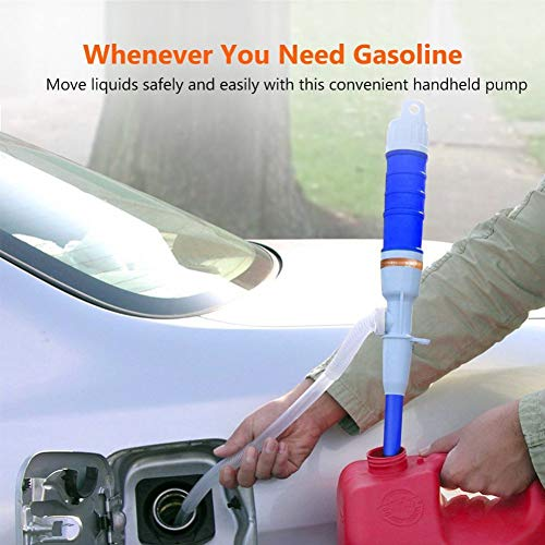 Hocossy Hand Pump Battery Operated Liquid Transfer Water Gas Tools Fuel Gasoline Portable Car Siphon Pipe Outdoor Car Auto Vehicle (Blue)