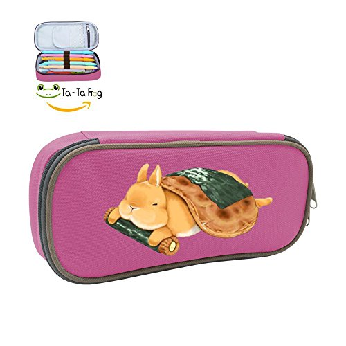 Pen Case Cute Rabbit Food Pencil Bag Big Capacity Multifunction Canvas-Pink for kids