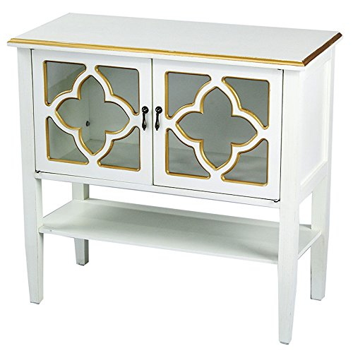 (Heather Ann Creations Modern 2 Door Accent Console Cabinet with 4 Pane Clover Glass Insert and Bottom Shelf Antique White/Gold Trim)