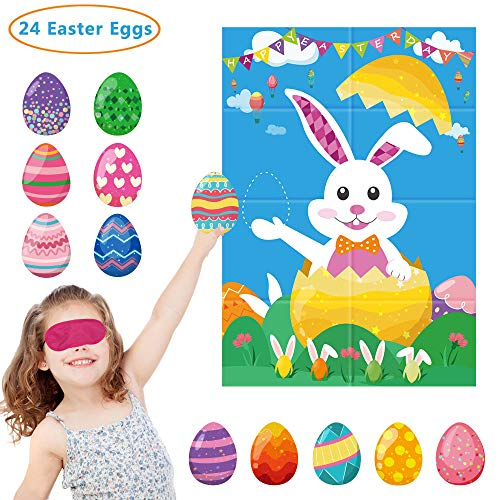Pin The Egg On The Bunny Easter Party Game for Party Supplies,Boy & Girl Party Games Include Large Easter Poster (28inch X 21inch), 24 Sticker Eggs and 2 pcs Blindfolds
