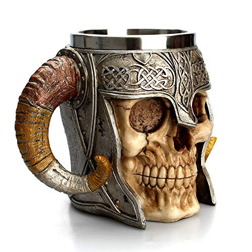 SAQIMA Birthday Gift Cup Coffee Mug Resin Striking Warrior Tankard Viking Skull Double Wall Christmas Cool Cup -