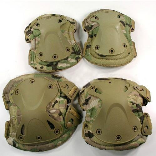 (Outdoor Sports Tactical Combat Knee & Elbow Protective Pads Skate Knee Pads CP Camo)