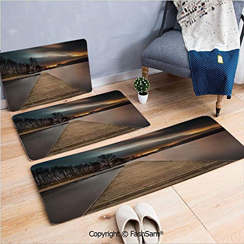 FashSam 3 Piece Flannel Bath Carpet Non Slip Lake Landscape with Jetty Cloudy and Dramatic Sky Scene at Sunset Image Front Door Mats Rugs for Home(W15.7xL23.6 by W19.6xL31.5 by W19.6xL59)