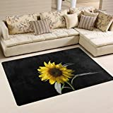 "SAVSV Area Rug Carpet Floor Mat 5' x 3'3""(60""x39"") Lightweight Printed Easy Clean Decorative Sunflower In The Dark Anti-Static For Living Room Bedroom Indoor 60x39 in"