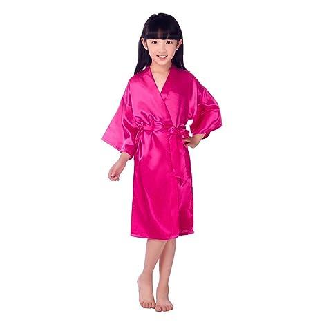 Traje De Kimono De Raso para Niñas Muy Cómodo Bata De Noche De Seda Bata De