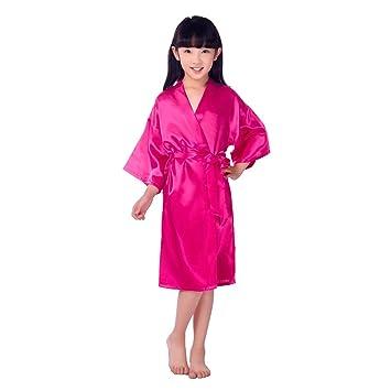 Traje De Kimono De Raso para Niñas Muy Cómodo Bata De Noche De Seda ...